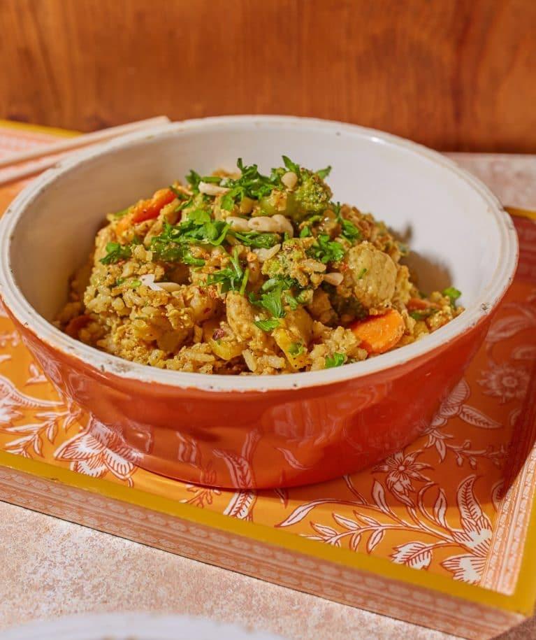 Csirkés-currys sült rizs
