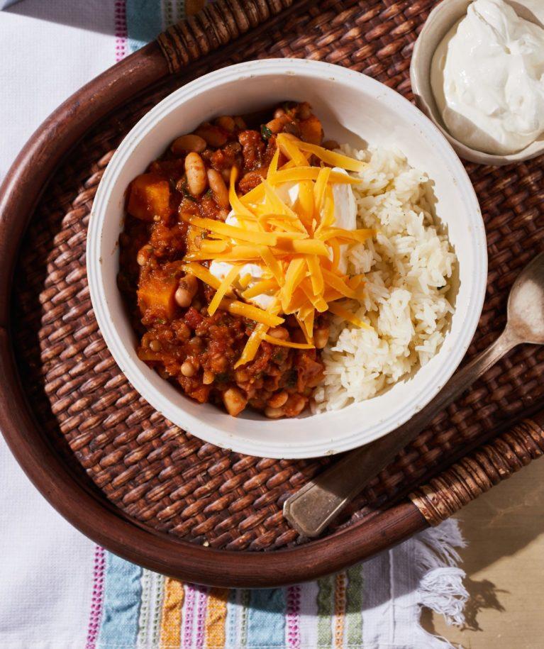 Sütőtökös vega chilis bab