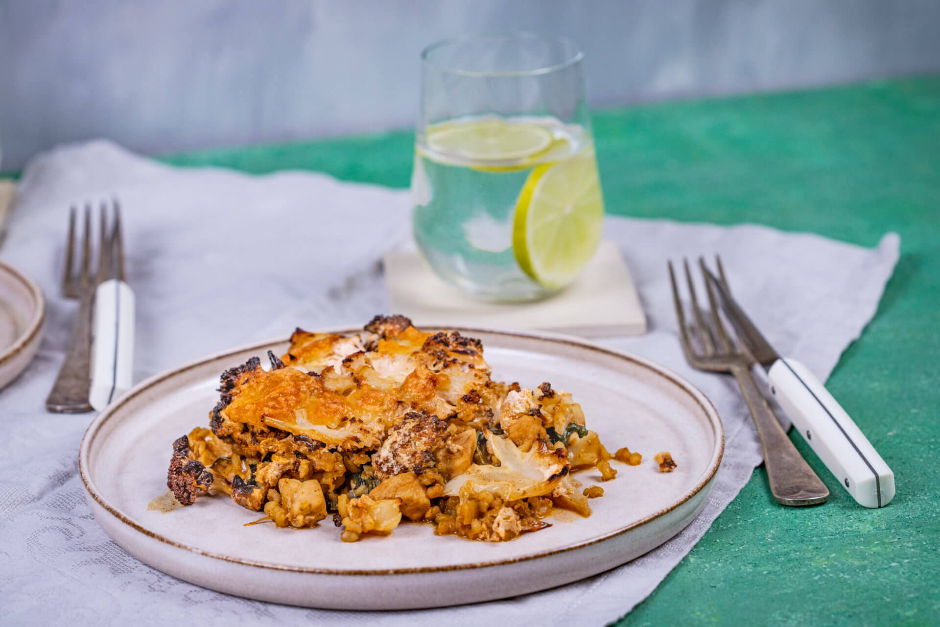 Csirkés-spenótos rakott karfiol