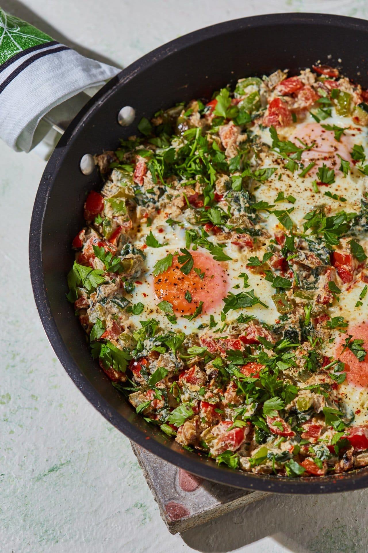 Reggeli zöldséges-ricottás tojás
