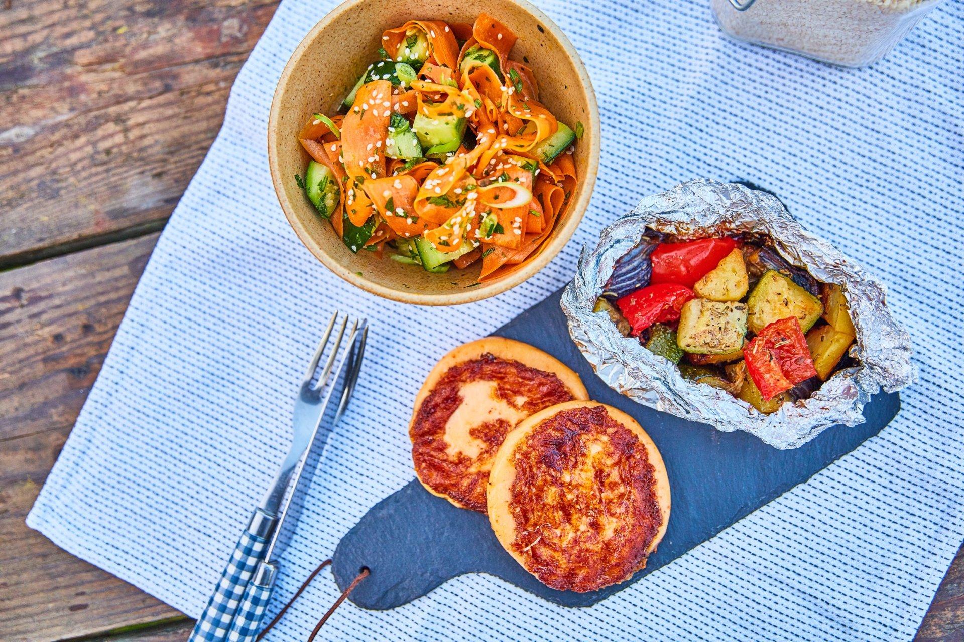 Grillezett mozzarella sült zöldségekkel